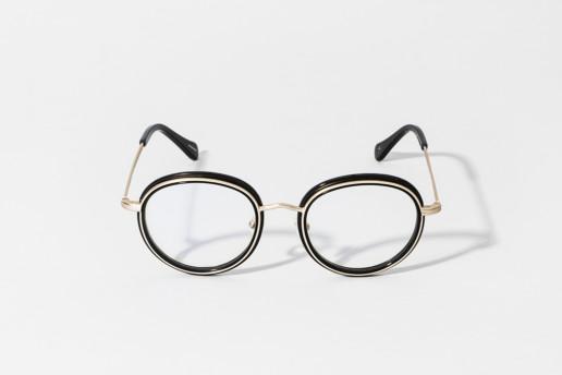 Occhiale in celluloide Epos colore nero e metallo oro. Collezione Leggenda. Misure 49□20 asta 145