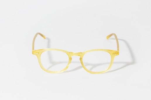 Occhiale in celluloide Epos colore giallo trasparente. Misure 46□22 asta 150